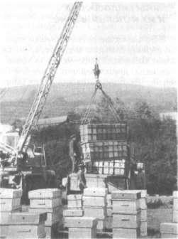 Погрузка контейнеров с ульями автокраном